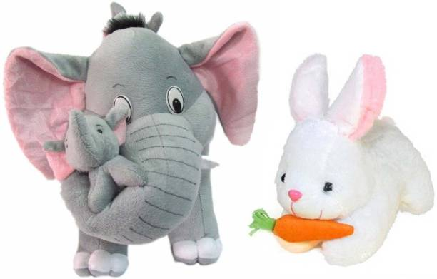 DMGC Mother Elephant With 2 Babies Soft Toy - 38 cm and White Rebbit 24 cm  - 30 cm