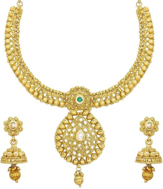 1483c36ab Aadita Fashion Jewellery Aadita Traditional Ethnic Pearl Studded Collar  Necklace Set with Earrings for Women and