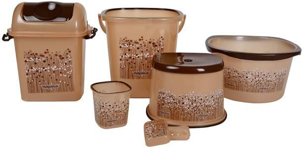 NAYASA deluxe funk 6 piece brown bathroom set 22 L Plastic Bucket