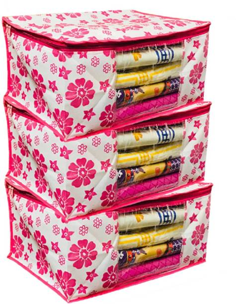 KUBER INDUSTRIES Designer Extra Large Size Non Woven Saree Cover Pink Floral Design Set of 3 Pcs (90 GSM Fabric) -NS02 PinkXLNS02