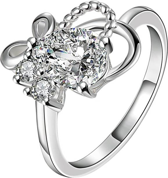 Yellow Chimes A5 Grade Crystal Vogue Leaves Silver Plated Ring Metal Rhodium Plated Ring