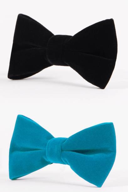 ecd3f09b422c FOBHIYA Velvet Regular Bow Tie (Set of 2) in Black & Sky Blue Solid