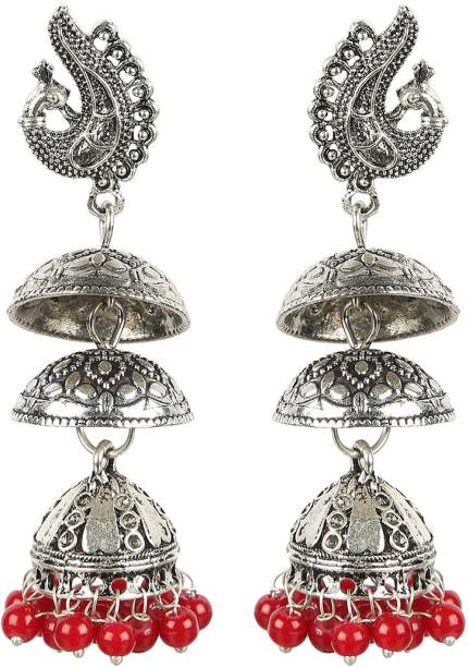 ddcfde37a The Indian Handicraft Store Oxidised Silver Bird Three Maroon Colour Beads  Jhumki Alloy Jhumki Earring