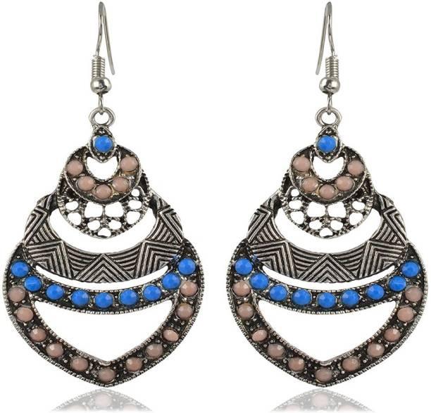 1e95da178 Sanaa Creations Silver Hoop Earrings for Women Girls - Partywear Gifts  Sapphire Alloy