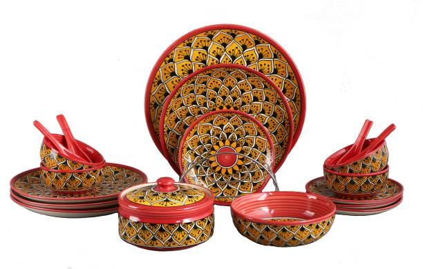caffeine Pack of 19 Ceramic Handmade Orange Morocco Dinner Set