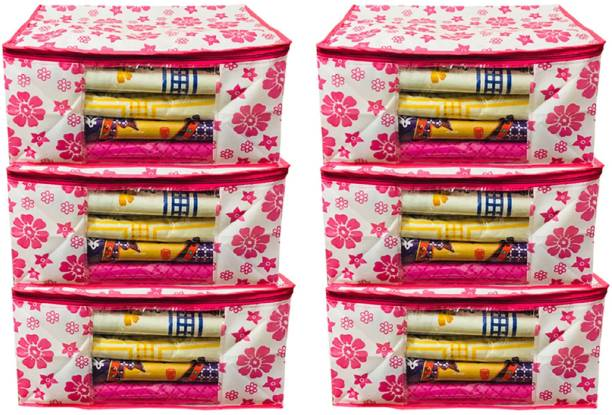 KUBER INDUSTRIES Designer Extra Large Size Non Woven Saree Cover Pink Floral Design Set of 6 Pcs (90 GSM Fabric) PinkXLNS08