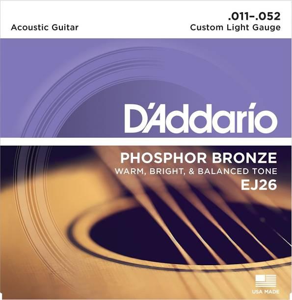 D'ADDARIO Acoustic EJ26 Phosphor Bronze Acoustic Guitar Strings, Custom Light, 11-52 BY CHENNAI MUSICALS Guitar String
