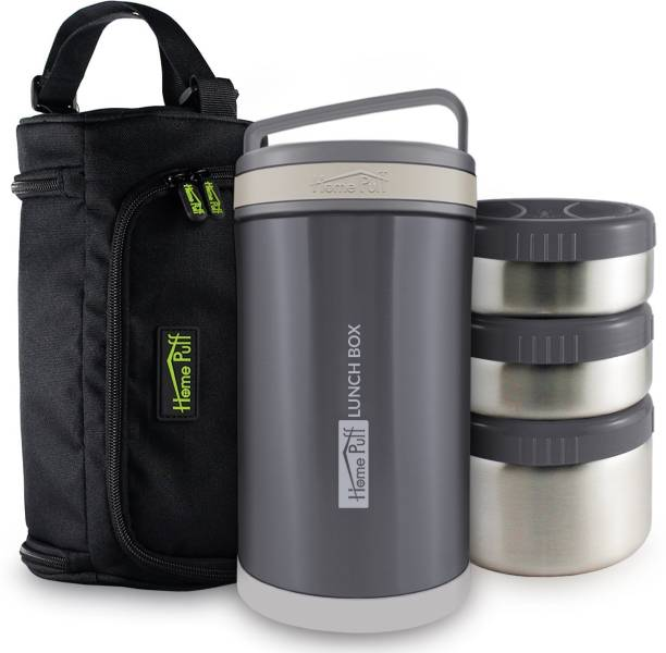 Home Puff Double Wall Vacuum Insulated Food Containers with Easy Carrying Bag & Leak Proof. 3 Containers Lunch Box
