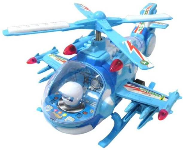 Kashti vaibhavi enterprise multicolor Helicopter With Led Lights On Wings And Music For Kids (Blue)