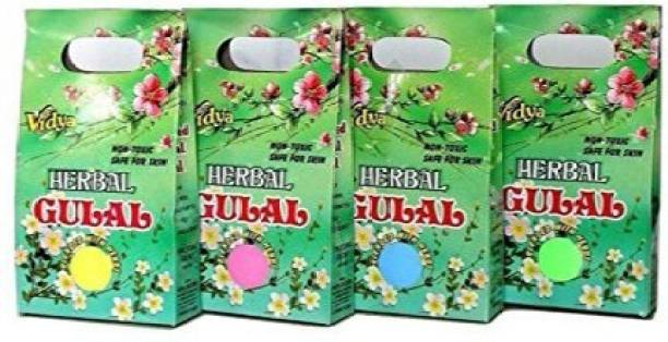 ENJOY ENJOY Vidhya Herbal Gulal Holi Colours Multicolour 100gm Each - Pack of 4 Holi Color Powder Pack of 4