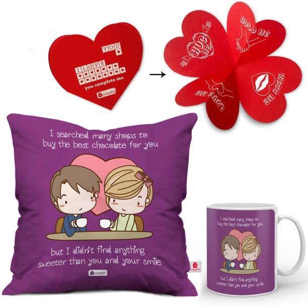 Indigifts Cushion Greeting Card Mug Gift Set