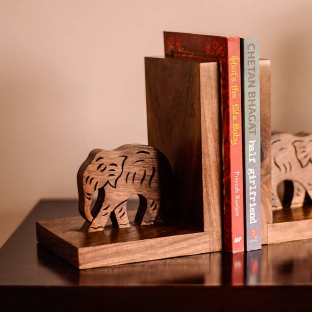 ExclusiveLane Hand Carved & Engraved Elephant Book End Cum Table Top Magazine Holder