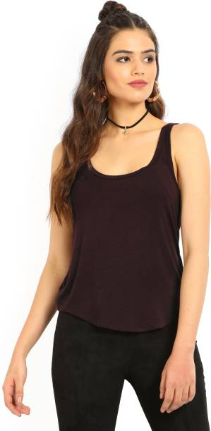 87a33d524d59b7 Forever 21 Casual Sleeveless Solid Women s Maroon Top