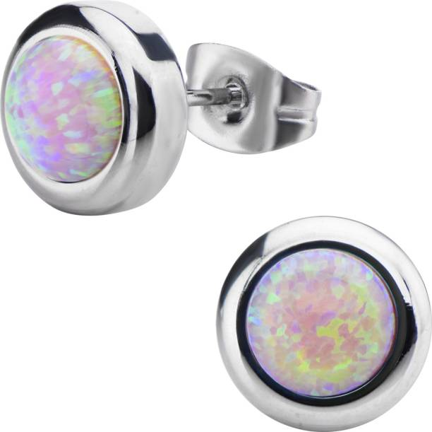 e3835593c Inox Jewelry Bezel Set Round Synthetic Opal Crystal Stainless Steel Stud  Earring