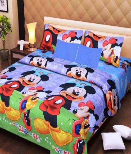 SHIVAAY HOMES 150 TC Polycotton Double Cartoon Bedsheet
