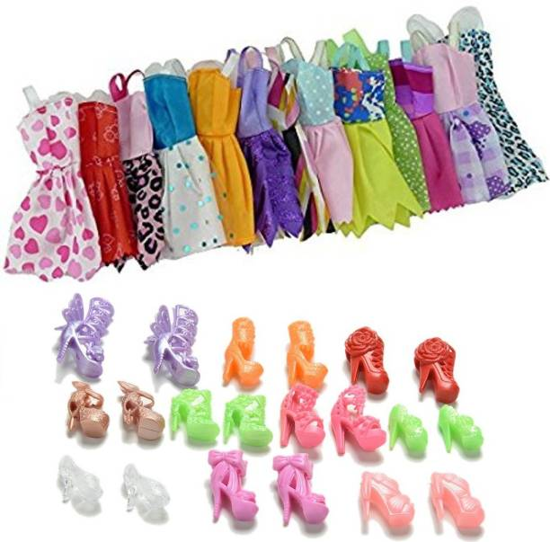 ab7f0666c044 P s retail Doll Accessories - 12pcs Party Dress Fashion Clothes   12 pair doll  Shoes
