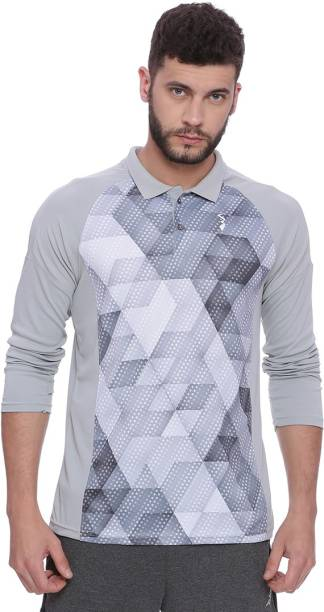 6b59656d2f Campus Sutra Printed Men Polo Neck Grey T-Shirt