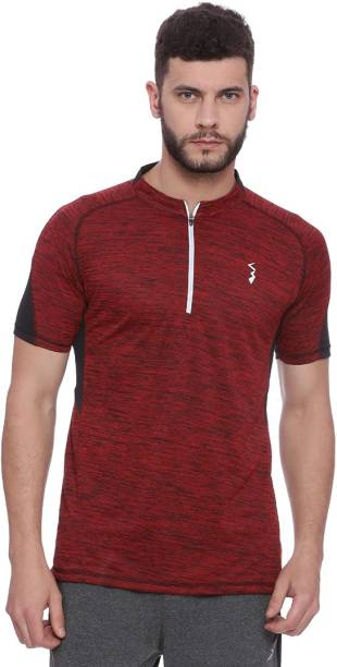 c5ace1d7c3 Campus Sutra Solid Men Mandarin Collar Red T-Shirt