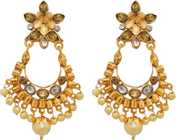 5e96f126e Kriaa by JewelMaze Austrian Stone Gold Plated Dangler Earrings-AAA4048 Alloy  Dangle Earring