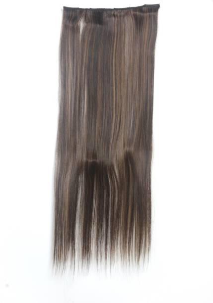 Ritzkart PC 22 INCH Straight 4 CLIP GOLDEN BLACK MIX NATURAL TYPE HAIR EXTENSION (50gm) Hair Extension