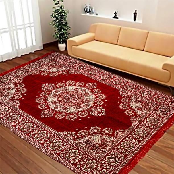 manvicreations Multicolor Chenille Carpet