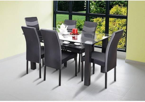 RoyalOak Lisbon Leatherette 6 Seater Dining Set