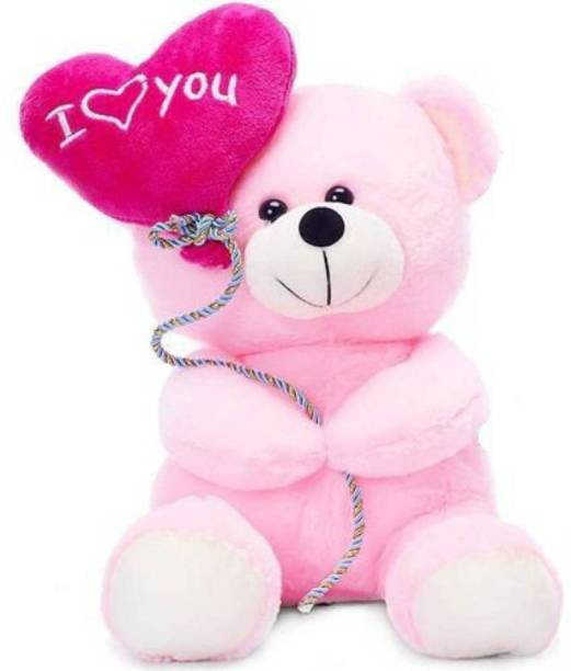 MSFI Teddy Holding I Love You Balloon Soft Toys for Grilfriend / Her / Wife | Color Pink - Size 18 cm Showpiece - 18 cm (Sponge, Pink)  - 18 cm