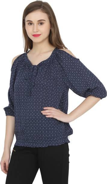 4c143a2a2675bc Hrikshika Fashion Casual 3 4th Sleeve Solid Women s Dark Blue Top