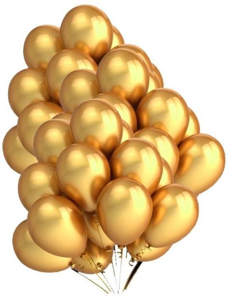 Aone Solid Golden Metallic Balloons Set Of