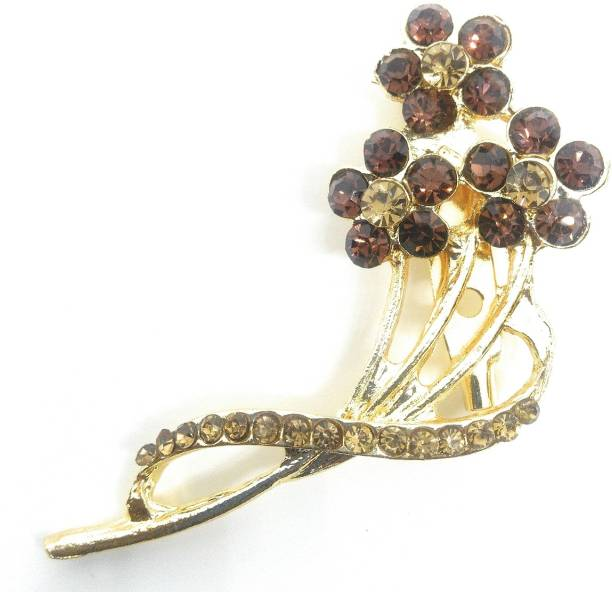 c56119039 Khubsurat Saree Pin Brooch for Women, Girls & Men, Gold Tone, Brown Color