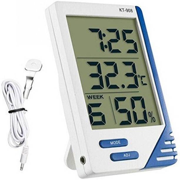 MCP Electronic Thermo Hygro Large Big Screen Indoor Outdoor Temp LCD Display Humidity Meter Tester Tool Temperature Alarm Clock Time with External Probe Sensor Digital Digital Hygrometer Maxima Minima KT-908 Thermometer