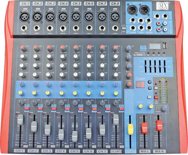MX Live Audio Mixer 8 Channel Premium Analog Mixer with USB & Bluetooth Analog Sound Mixer