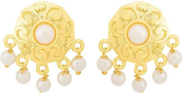 7014cfa2f Voylla Golden State of Mind Beautiful Studs with Pearls Pearl Alloy Stud  Earring
