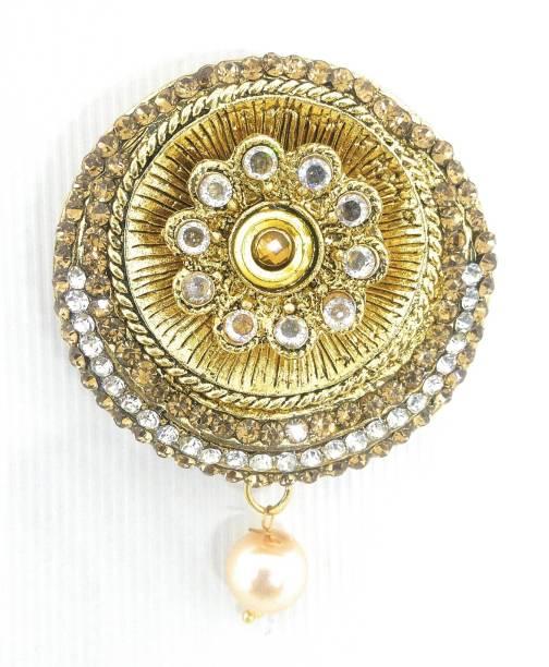 b37a38fb4 Khubsurat Saree Pin Brooch for Women & Girls, Gold Tone, Stone Stud, Round