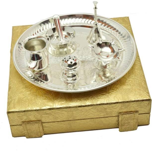Advika Handicraft Advika Handicraft Handmade Silver Brass Decorative Spiritual Poojan Thali Set (9 Inch_Silver) Brass