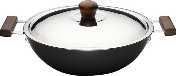 Wonderchef Ebony Hard Anodized Wok with Lid 24cm Kadhai 24 cm with Lid