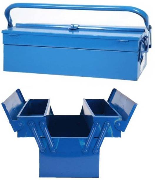 Digital Craft 16Inch Heavy Duty Metal 3 Tray Cantilever Tool Box Storage Container Organizer One Piece Tool Box with Tray