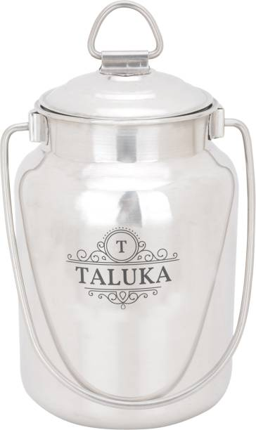 Taluka  5.2  x 8.10  Inches  Stainless Steel Milk Can Capacity 2.5 Liters Weight :  570 Grams   2.5 L Steel Grocery Container