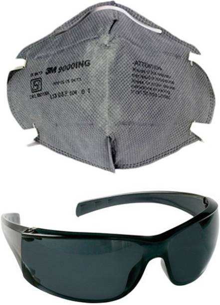 1d30819d8d1 Vezual 3M9000ING BLACK GOGGLES COMBO 3M 9000ING Safety Grey Mask for  protection against Dust   Pollution