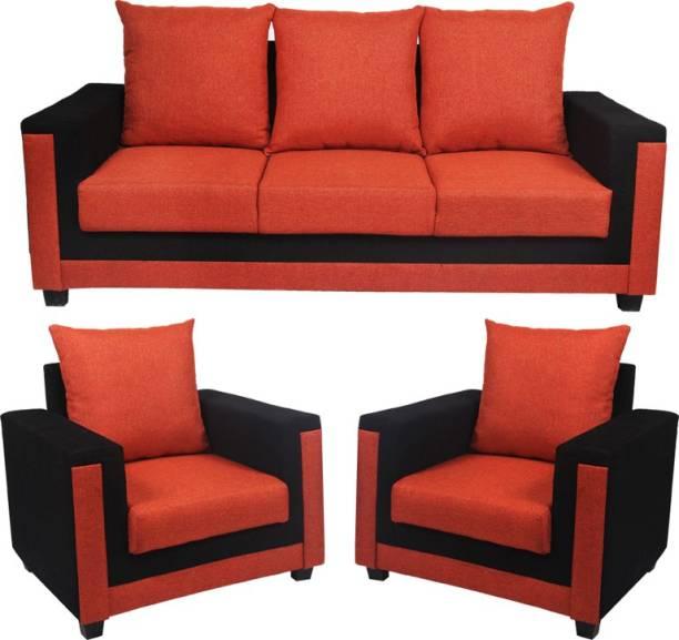 Lookinfurniture Oakey R Fabric 3 1 Orange Sofa Set
