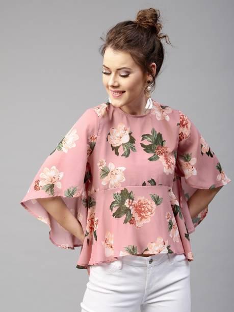 SASSAFRAS Casual Bell Sleeve Floral Print Women Green, Pink Top