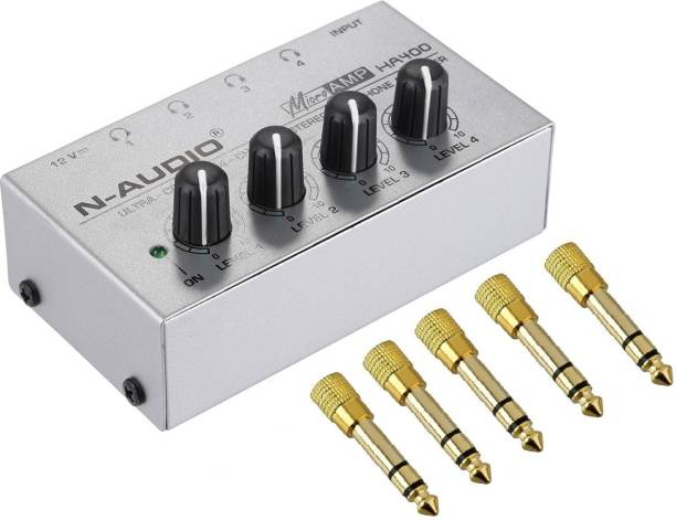 AMICIKART HA400 compact 4 Channels Mini Audio Stereo Headphone Amplifier with Power Adapter and 5 Pcs Connectors Studio Headphone Amplifier