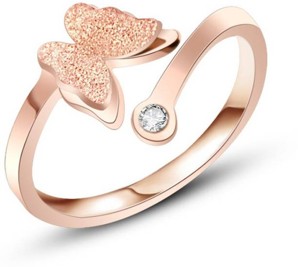 6e18851548d4 Divastri Charming Dual Butterfly Surgical Steel 18K Real Rose Gold Metal  Rose Gold Plated Ring
