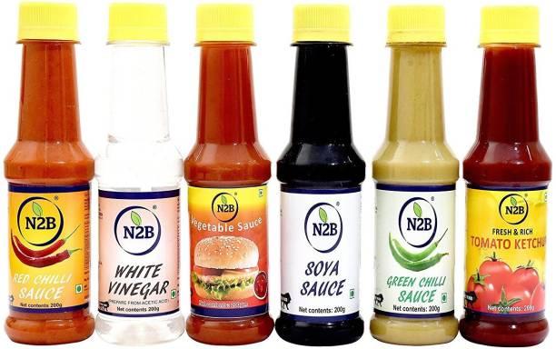 N2B Combo of 6 (Red Chilli Sauce + White Vinegar + Soya Sauce + Green Chilli Sauce + Vegetable Sauce + Tomato Ketchup) 200g each Sauce