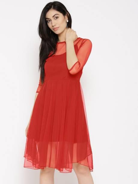 25788f53de6 U F Women Fit and Flare Red Dress