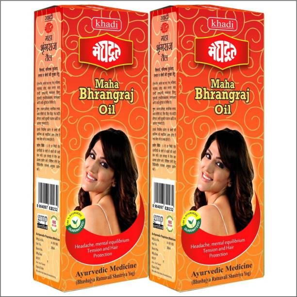 KHADI MEGHDOOT AYURVEDIC MAHA BHRANGRAJ TEL 200 ML PACK OF 2 Hair Oil