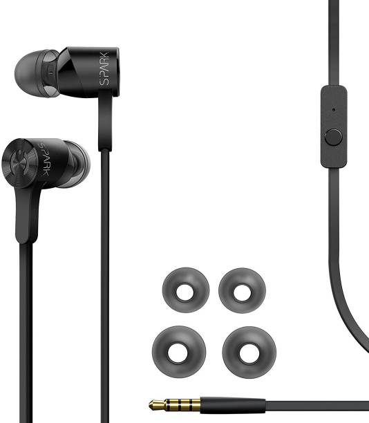 a57a5c710c3 MuveAcoustics Spark In-Ear Headphones Headset with Mic Superior Bass  (Black) Wired Headset
