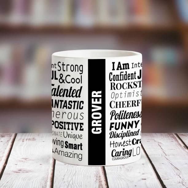 HUPPME GROVER Good Personality White Ceramic coffee Name Ceramic Coffee Mug