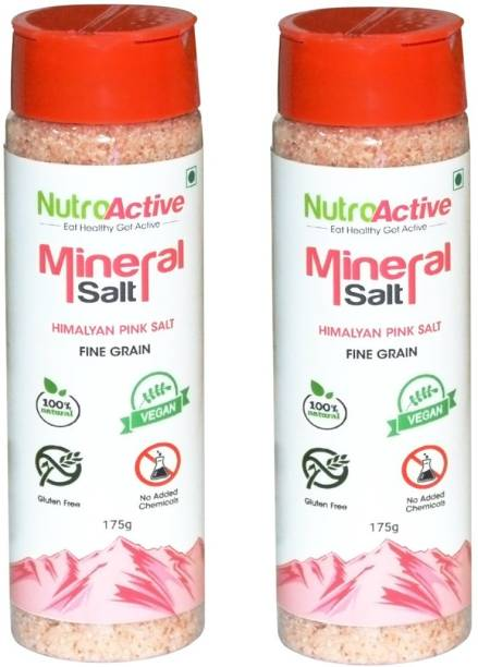 NUTROACTIVE Mineral Salt Sprinkler, SHAKER (pack of 2), Himalayan Pink Salt Fine Grain (0.5-1mm) - 175 gm each Himalayan Pink Salt