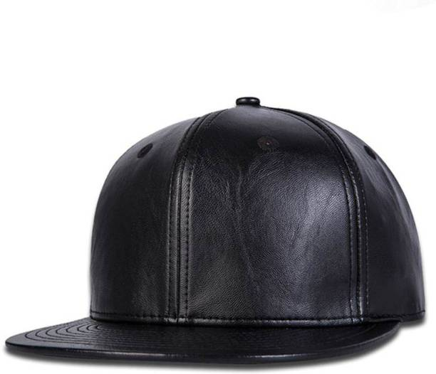 da6e15efac2 Raydon Solid Stylish Look Black Leather Snap-back Hip Hop Cap